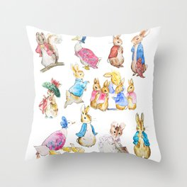 Tales of Peter Rabbit  characters Beatrix Potter Throw Pillow