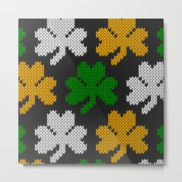 Shamrock pattern - black, orange, green, white Metal Print