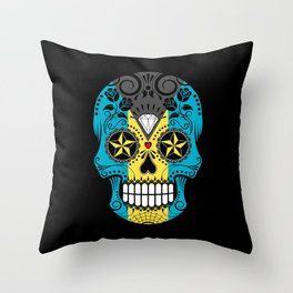 Sugar Skull with Roses and Flag of Bahamas Throw Pillow