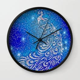 Sparkling Blue & White Peacock Wall Clock