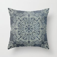 Mandala Vintage Ivory Blue Throw Pillow