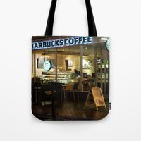 starbucks Tote Bags featuring Starbucks by VAWART