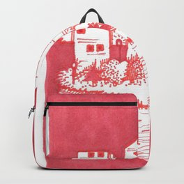 Red Floatie Island Buildings Backpack