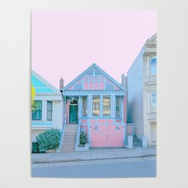 San Francisco Painted Lady Victorian House Poster