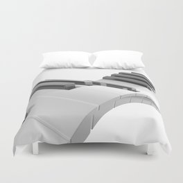 Keyboard of a piano waving on white background - 3D rendering Duvet Cover