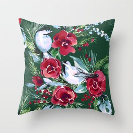 Winter Birds Dark Green Throw Pillow