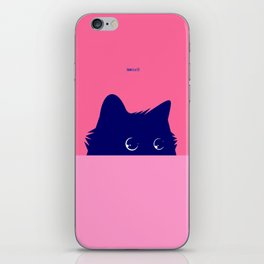 Cat on Deep Pink iPhone Skin