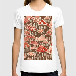 Seamless city pattern in T-shirt