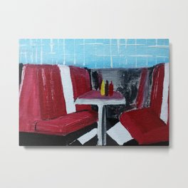 American Diner Impressionist Acrylic Fine Art Metal Print