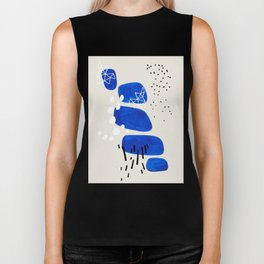 Fun Mid Century Modern Abstract Minimalist Phthalo Blue Stacked Pebbles Indigenous Art Biker Tank
