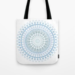 Grayish Blue White Mandala Tote Bag
