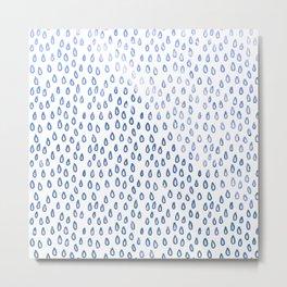 Blue Shimmer Raindrops Metal Print