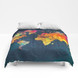 World Map blue #world #map Comforters