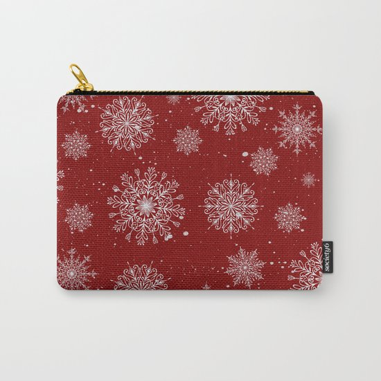 Assorted White Snowflakes On Red Background Carry-All Pouch