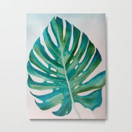 Monstera Leaf Watercolor Metal Print