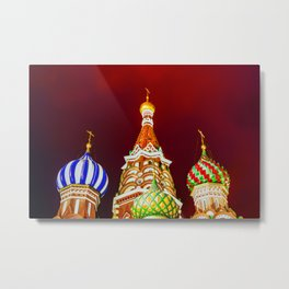 Saint Basil's Cathedral Domes Against The Red Night Sky Metal Print