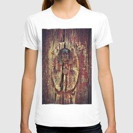 weathered wooden door with agypt door knocker T-shirt