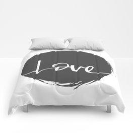 Love Handwritten Black and White Comforters