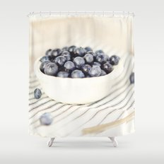 Scalloped Cup Full of Blueberries - Kitchen Decor Shower Curtain