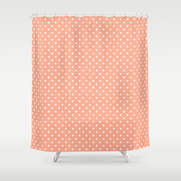 Mini Peach With White Polka Dots Shower Curtain By Podartist Society6