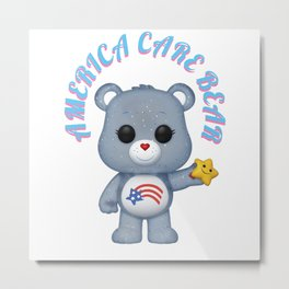 american bear blue on pink font Metal Print