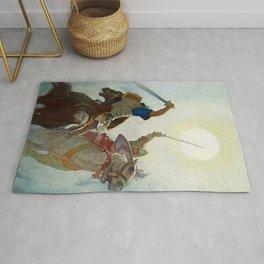 """""""The Sword Battle Was Fierce"""" by NC Wyeth Rug"""