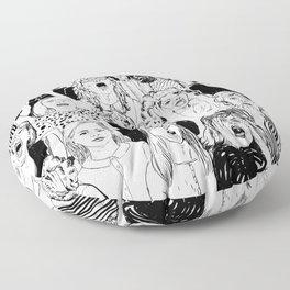 Wild girls. Black and white illustration. Floor Pillow