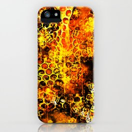 bees fill honeycombs in hive splatter watercolor iPhone Case