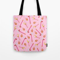 magical girl Tote Bags featuring Magical Girl Weapons – White by mimia