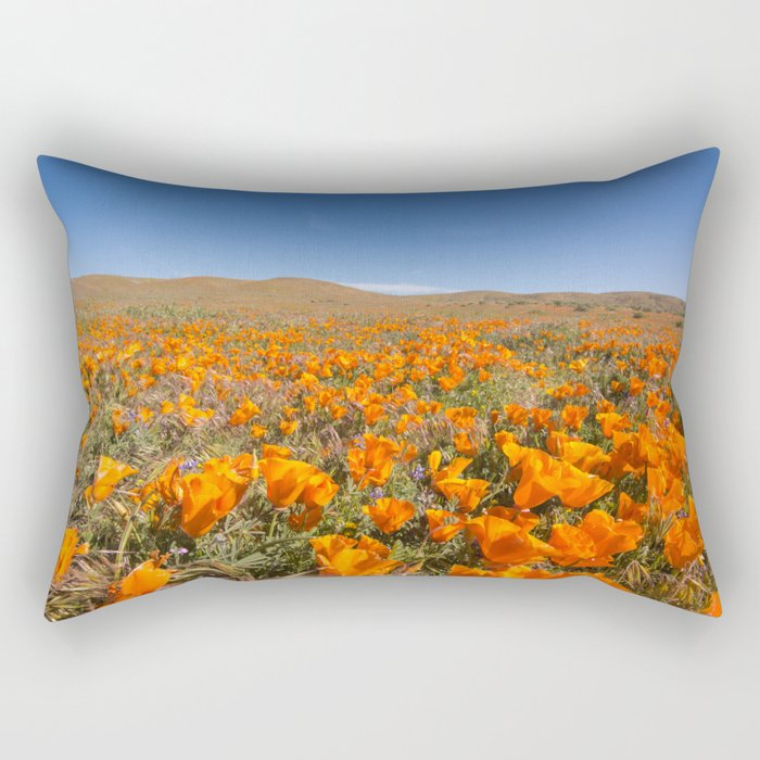 Blooming poppies in Antelope Valley Poppy Reserve Rectangular Pillow