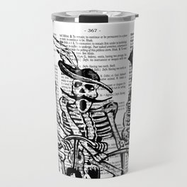 Calavera Cyclists | Skeletons on Bikes | Day of the Dead | Dia de los Muertos | Black and White | Travel Mug