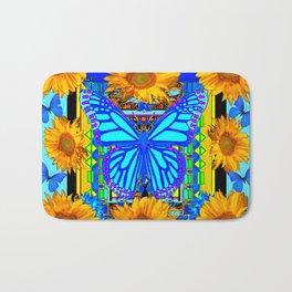 Blue Butterfly Gold Sunflowers design Bath Mat