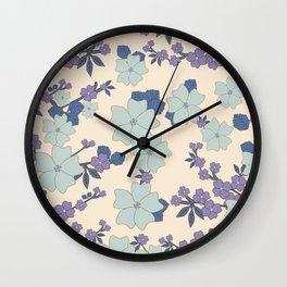 Flowers, Petals, Leaves, Blossoms - Blue Purple Wall Clock