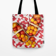 Organic Vegetable - Baskets Of Mixed Tomatoes On Vintage Drunkard's Path Quilt Tote Bag