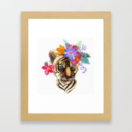 Tiger Cub with Flowers Framed Art Print