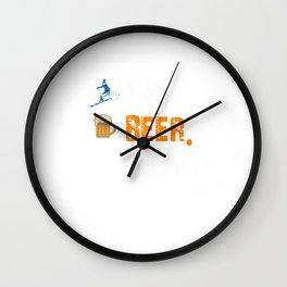 Funny Ski Beer Repeat Skiing & Skiers Wall Clock