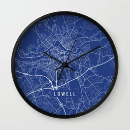 Lowell Map,USA - Blue Wall Clock