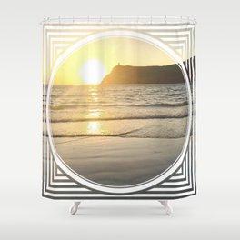 Port Erin - circle/line Shower Curtain