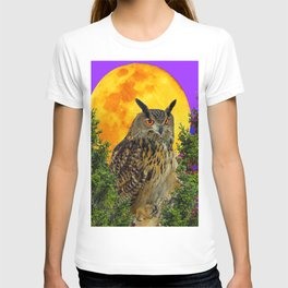 LONG-EARED OWL & MOON PANTENE PURPLE  ART DESIGN T-shirt