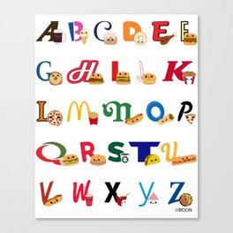 Fast Food Alphabet Canvas Print