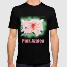 Pink rhododendron, azalea flower photo art. color pencil sketch style. MEDIUM Black Mens Fitted Tee