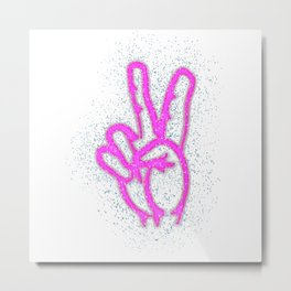 V Sign Metal Print