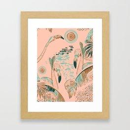 Flamingos in linocut look Framed Art Print
