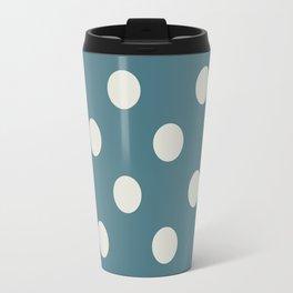 Blue and White Polka Dots Travel Mug