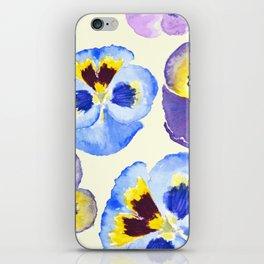 pansies pattern watercolor painting iPhone Skin