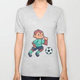 Monkey Football Sports Game Gift Unisex V-Neck
