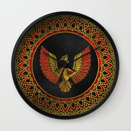 Gold and red Decorated Phoenix bird symbol Wall Clock