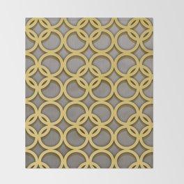 Intertwinning Gold Circles Throw Blanket
