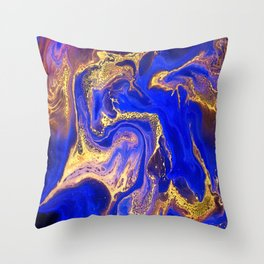 Marble gold and deep blue Throw Pillow