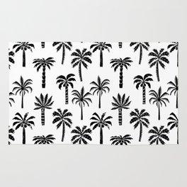 Palm Tree linocut pattern minimal tropical black and white minimalist Rug